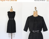 75% OFF vintage 1950s dress - 50s dress small - dress set - little black dress - bow belt