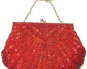 Vintage Ruby Red Beaded Clamshell Evening Shoulder Purse