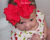 """Pick color-Infant Newborn Baby Medium  Red Double Ruffle Stacked Boutique Hair Bow Headband matching Headband -bow measures  4"""" Holiday Bow"""