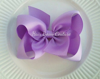 Lavender Boutique  Hair Bow Large Lavender Bow -No Slip Bows, Children Hair Bows, School Bows,  Alligator clip or French Barrette