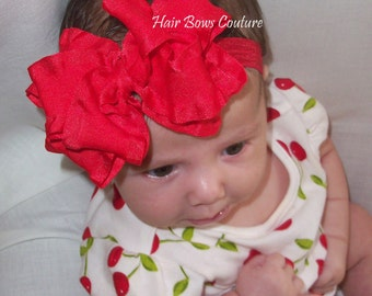"Pick color-Infant Newborn Baby Medium  Red Double Ruffle Stacked Boutique Hair Bow Headband matching Headband -bow measures  4"" Holiday Bow"