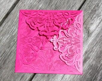 Sample - Laser Cut FOLDER Pocket ONLY -  Elegant Lace Pocket in Shimmering Hot Pink, Gold, Silver, Black, Cream, Purple or Navy