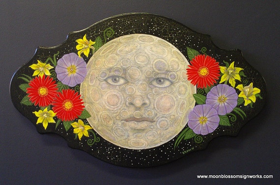 Moon and Flowers Hand Painted Wooden Art Piece