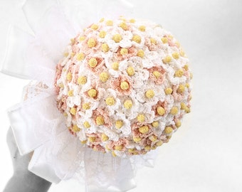 White and pale pink wedding bouquet bridal bouquet hand crochet small daisy flowers