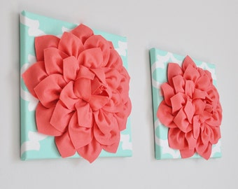 Mint and Coral Wall Art, Trellis Decor, Coral Wall Hanging, Dorm decor, Pinky coral wall art Wall Hangings, Dorm Decor, Nursery Decor