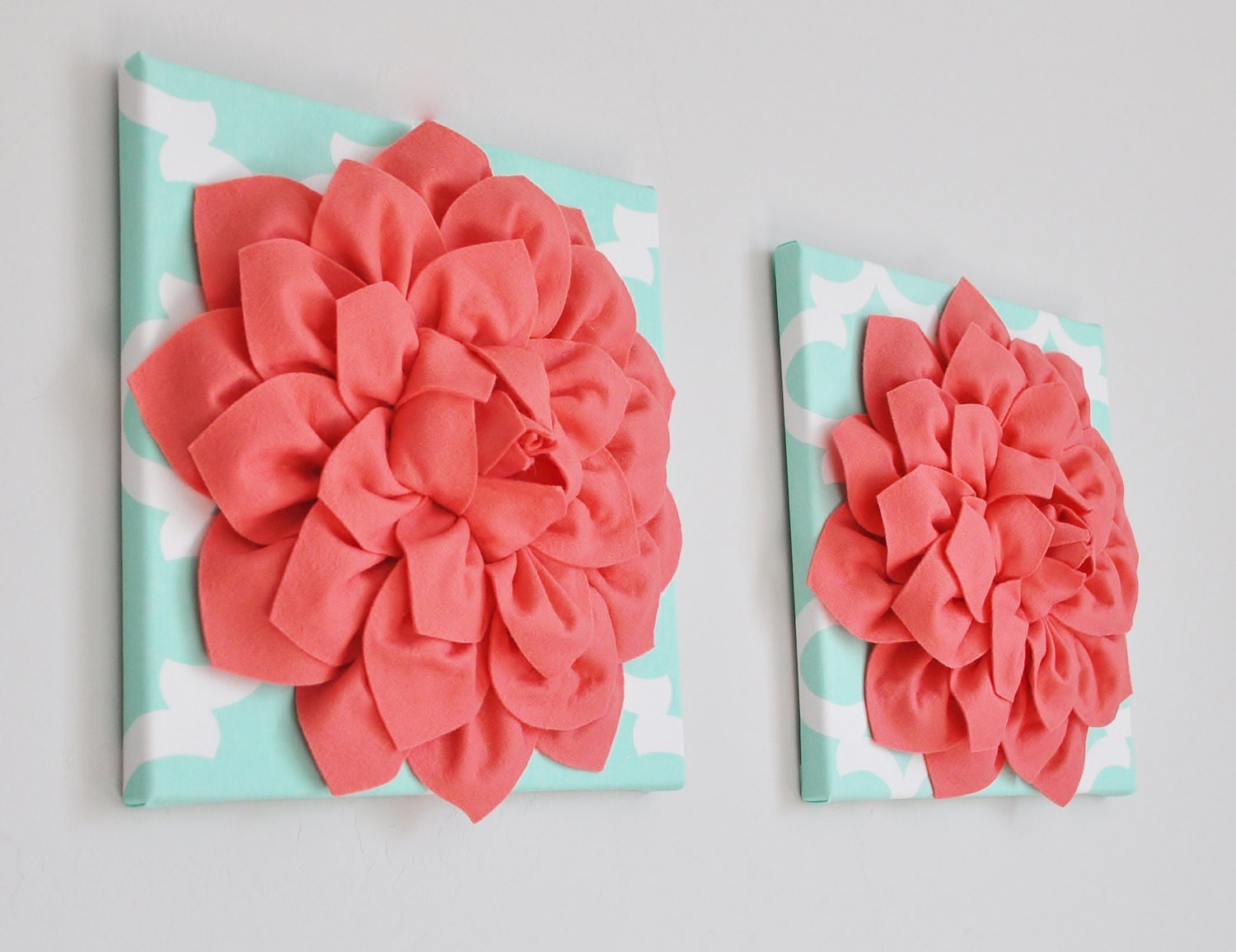 Mint And Coral Wall Art Trellis Decor Coral Wall Hanging