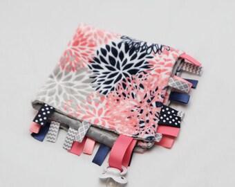 MINI Baby Ribbon Tag Blanket - Minky Binky Blankie - Mod Flower Mums - Coral Grey Navy