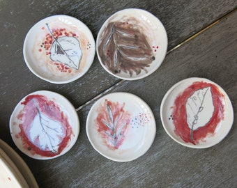 Tiny Trinket Dishes Ceramic Woodland Autumn Leaves Hand Drawn Fine Art One of a Kind Gift Home Decor, Handmade Pottery by Licia Lucas Pfadt