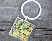 new york vintage map keychain   1959 Esso Southern New England Map   Manhattan New York   geography   traveler