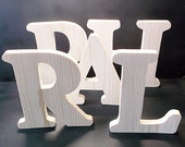 Pkg of 5 Unfinished Stand Alone Wood Letters Style 1 for Vanessa