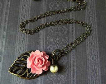 Pink Rose Flower Necklace Rustic Brass Leaf Necklace Blush Pink Necklace Floral Rose Necklace Boho Bridal Pendant Wedding Bridesmaid Gift
