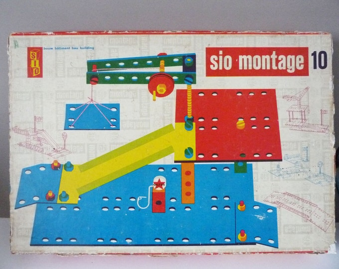 Vintage Sio Montage wooden  construction toy