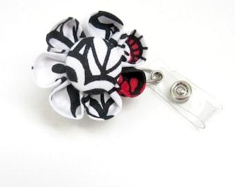 Badge Reel, Retractable ID Holder, Badge Holder, Lanyard, Black, White & Red Floral