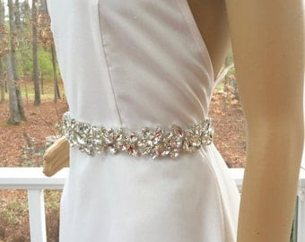 Rhinestone Bridal Sash, Wedding Gown Accessory, Bridal Crystal Sash,  Bridal Wedding  Belt, Bridal Gown Belt, Bridal Dress   Accessory