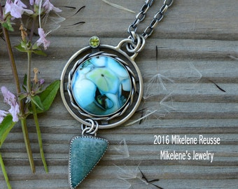 Teal Lotus .... sterling silver statement PENDANT/ Focal Piece  contemporary METALSMITH Artisan jewelry by Mikelene