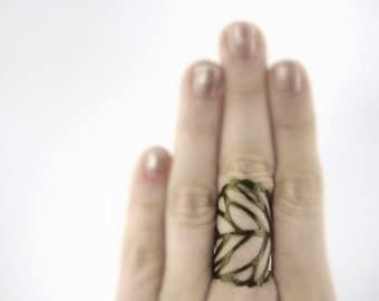 Bronze Gold Leaf Ring - Finger Armor Ring - Bronze Gold Leaf Jewelry - Wood Elf Costume - Woodland Fairy Dress - Woodland Fairy Costume