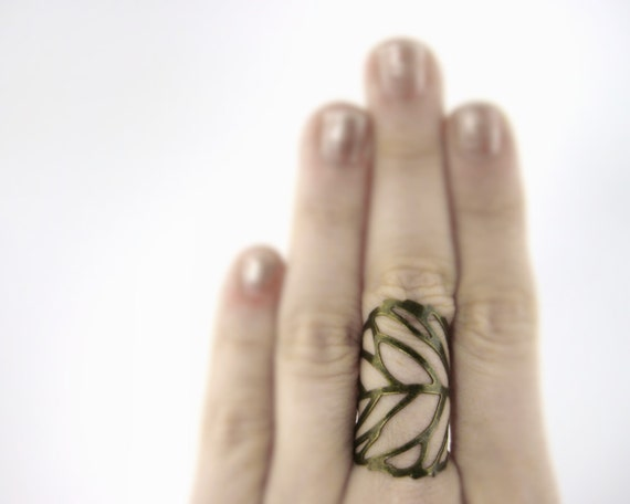 Bronze Gold Leaf Ring - Finger Armor Ring - Bronze Gold Leaf Jewelry - Wood Elf Costume - Woodland Fairy Dress - Woodland Fairy Costume
