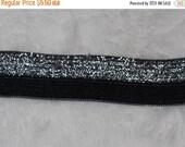 ON SALE 10% off 10 yards Black silver Metallic stretch foldover elastic foe baby headband Diy Hair Ties 5/8
