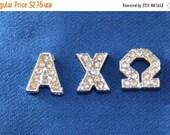 ON SALE 10% off Rhinestone greek letter letters sorority slide charms for hair Ties or 8mm bracelet jewelry