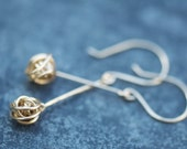 Gold filled Chic chaotic knot long earrings, long love knot gold earrings, gold drop earrings, nautical knot, handmade knot earrings