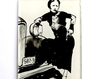 SALE Bonnie Parker portrait/Reverse painting on glass/Bonnie & Clyde gift/Vintage lover Art gift/Display magnet/oil sketch/handmade gift