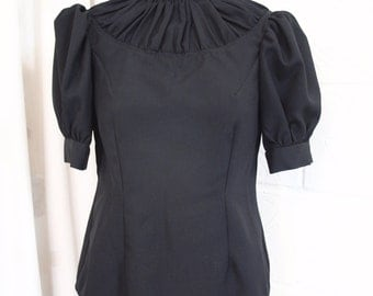 Ruched yoke, puff sleeve blouse