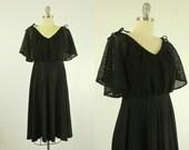 1970's Black Dress S M Flutter Bell Sleeves