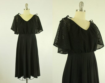 1970's Black Dress S M Flutter Bell Sleeves