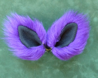 Small Purple and Black Fur Animal Costume Ears Cat Fox Wolf Dog Monster