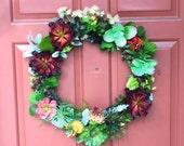 Faux Succulent Front Door Wreath, Succulent Wreath for Valentine's, Door Wreath of Artificial Succulents