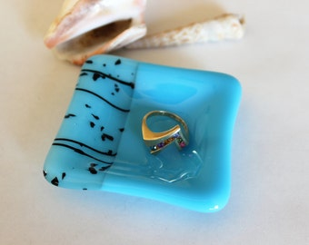 GLASS RING DISH -Turquoise Black Fused Glass Ring Dish, Wedding Ring Dish, Trinket Dish, Small Fused Glass Dish, Gift for Coworker, Under 10