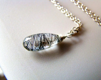 Rutilated Crystal Quartz Pendant Necklace. Silver gold rose gold or tarnished silver
