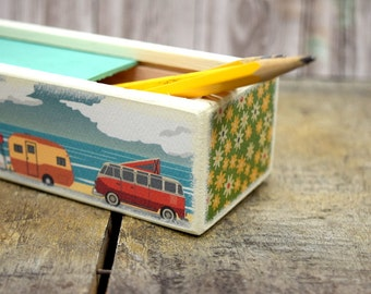 Road Trip Pencil Case, Pencil Box, Wooden Keepsake Box, Camper, Traveler, On The Road, Go RVing, Van Life, World Travel