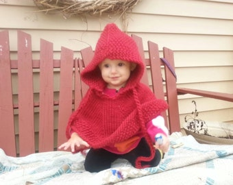 Hand Knit red baby poncho Little Red Riding Hood Halloween  baby costume  pure soft  wool pick size  Proudly made in America Ready to ship