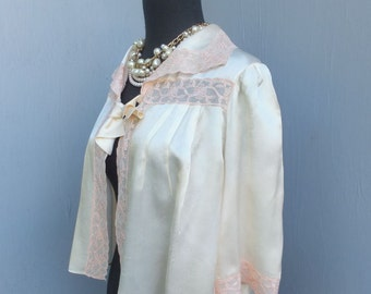 Glamorous 40s/50s Satin Bed Jacket, Apricot or Peach Silk Lingerie