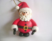 Santa Claus Handmade Clay Christmas Ornament XMax Gift set of 2 Reserved Listing for msdunlap76