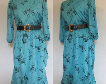 Vintage 80s / Turquoise / Black / Floral Print / Secretary / Day Dress / Large