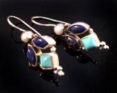 LapisTurquoise earrings,925 Sterling Silver Earrings,Gemstone jewelry,Birthstone,Blue turquoise earrings,Unique Jewelry by Taneesi