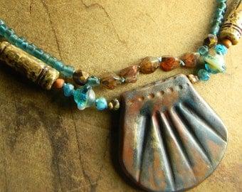 Boho Bohemian Jewelry Terracotta Pendant Necklace Aqua Hand Knotted Southwestern
