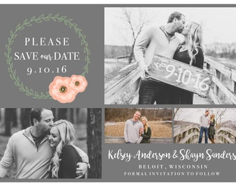 PRINTABLE Save the Date with Pictures