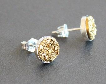 Yellow Gold Drusy Sterling Silver Earrings - Post / Stud Earrings - 8mm