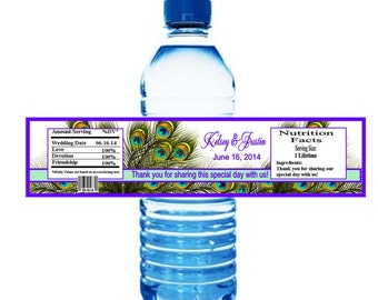 Peacock Wedding Water Bottle Labels  or any occassion (set of 20)  customized & personalized, Waterproof, printed #2331