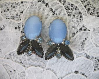Vintage Rhinestone Earrings ~ Clip On ~ Blue & Black Rhinestones