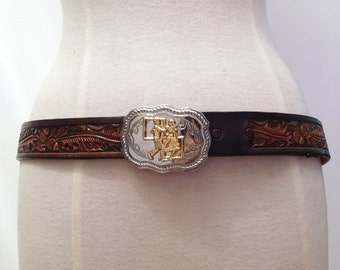 Vintage 1970s Beautiful Tooled Leather Western Square Dancing Buckle Belt