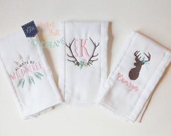 Custom Personalized Girl Rustic Deer Burp Cloth Set - Set of 3
