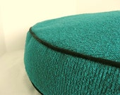 Dog Bed Cover  Bright Turquise Nibby Upsholstery with Black Piping   32 round