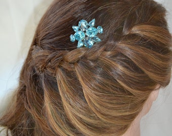 Turquoise Crystal Bridal Comb, Caribbean Wedding Hair Comb, Bridesmaid Comb, Bridal Headpiece, Something Blue, Wedding Headpiece