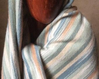 "Cashmere Silk Shawl, Hand Woven, Hand Dyed Ikat Cashmere Wrap Shawl, Plus Size - 19""x90"""