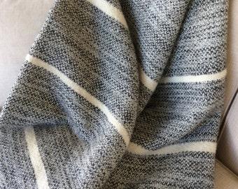 Alpaca and Merino Handwoven Throw, Black and White Wool Blanket, Luxury Wool Bed Throw