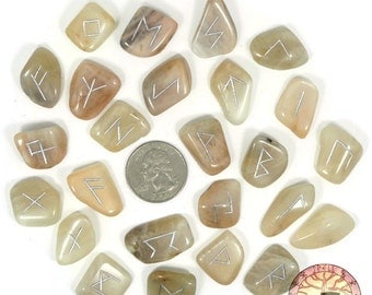 Small Moonstone Rune Set Hand Carved Elder Futhark With Manual & Pouch